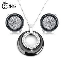 2019 Fashion Women Jewelry Sets Black White CZ Crystal Female Jewelry Never Fade Ceramic Pendant Necklace Earrings(China)