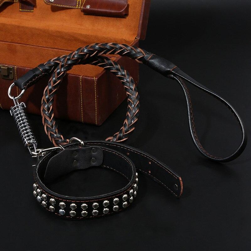 Pet Dog Lanyard Dog Collar Dog Chain Medium Large Dog Gold Trametes Dog Supplies Leather Pulling Rope