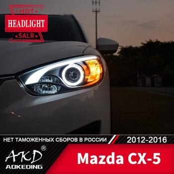 Head Lamp For Car Mazda CX-5 2012-2016 cx5 Headlights Fog Lights Day Running Light DRL H7 LED Bi Xenon Bulb Car Accessory