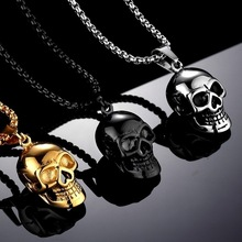 Personality Punk Style Gold/Black/Silver Color Skull Necklace Pendant Motorcycle Party Cool Long Chain Necklace Jewelry lydz001 stylish cool zinc alloy wolf tooth style pendant necklace black silver