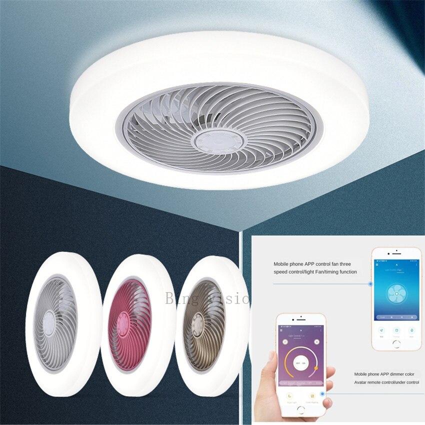 Gran tamaño, 58cm, APP inteligente, ventiladores de techo inteligentes, ventiladores con luces, control remoto, lámpara de decoración del dormitorio, ventilador de techo de 220V 110V