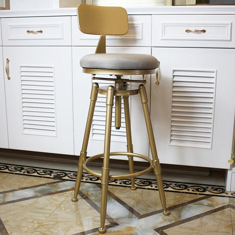 Nordic Golden Bar Stool Iron Rotating Lifting  Barstools With Back Metal High Leg Chair Height Adjustable,W