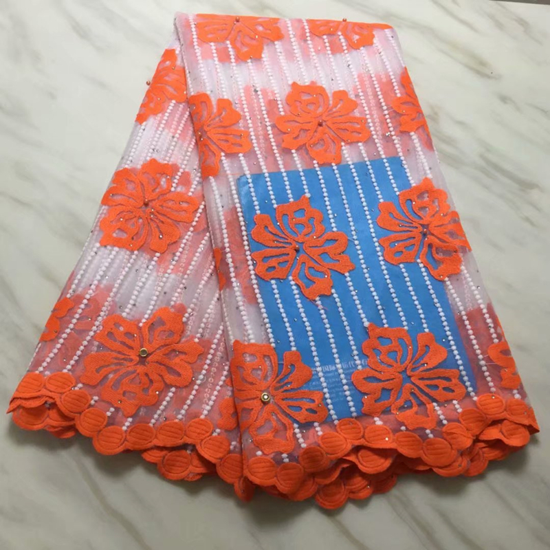 Best Selling African Lace Fabric Hot Sale 2019 Flower Embroidered Nigerian French Lace Fabrics With Stones For Wedding Dress