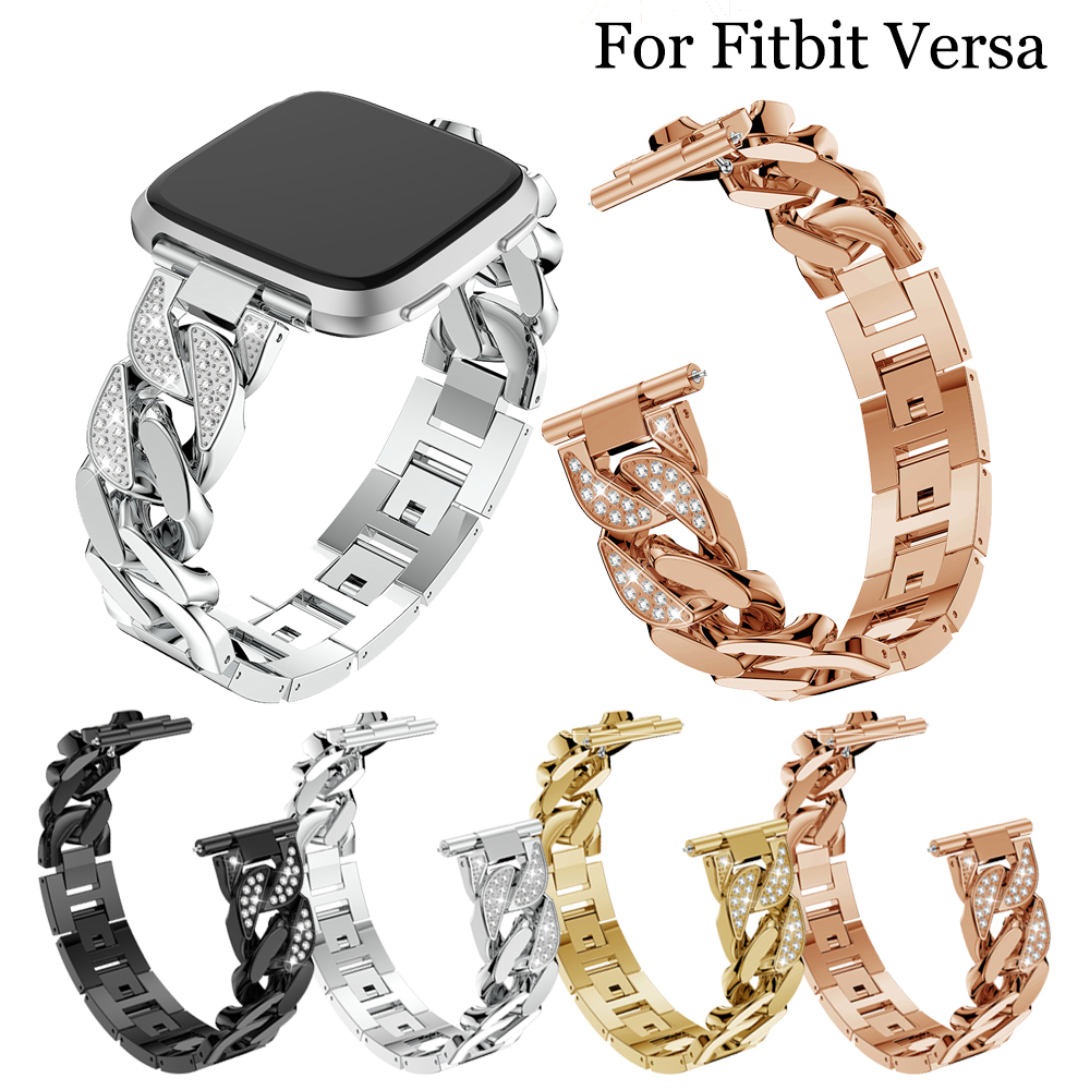 Bling Diamond Watch Band For Fitbit Versa Stainless Steel Strap Women Wrist Bracelet For Fitbit Lite/verse 2 Band Accessories