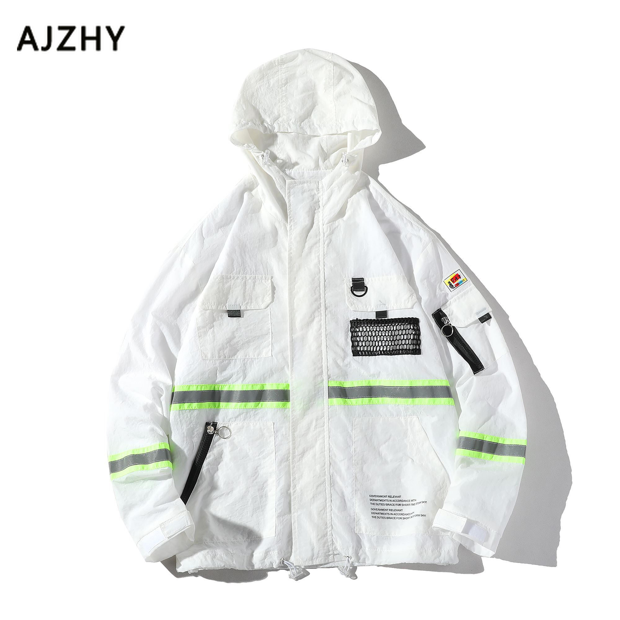 Visible Wind Jacket Print Color Block Coat Women Clothes Fall Black White Casual Fashion Tracksuit Street wear