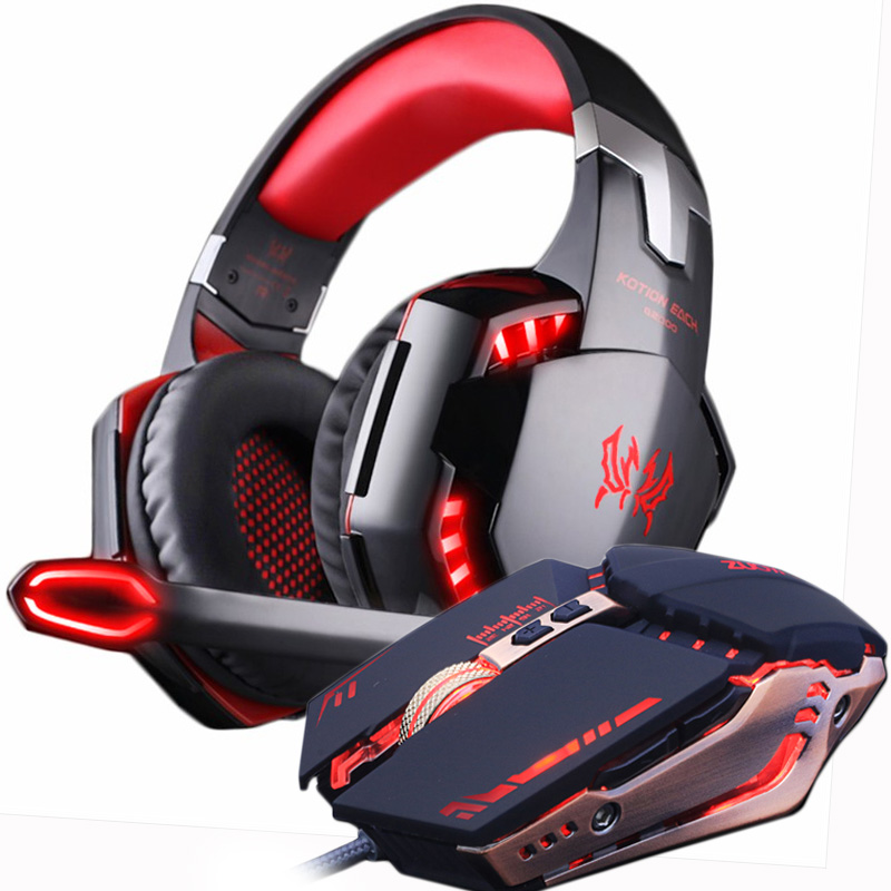 Gaming Headset and Mouse Adjustable 4000DPI Bass Gamer Headphones Earphone+Gamer Mice LED Light Wired USB for PC Laptop