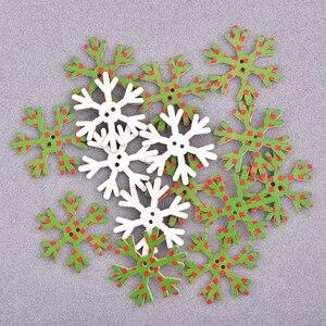 Image 5 - JUNAO 25 35 مللي متر مزيج شكل الثلج خشبية عيد الميلاد الديكور للمنزل عيد الميلاد حلي معلقة هدايا الاطفال السنة الجديدة ديكورات