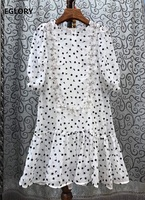 100%Silk Summer Dress 2020 Fashion Style Women Elegant Little Flower Print Appliques Lace Embroidery Deco White Black Dress