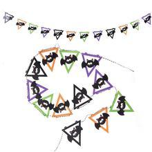 Halloween Bat Banne  Flags Garland Bats Hanging Decor Black Orange Purple Green for Indoors and Outdoors