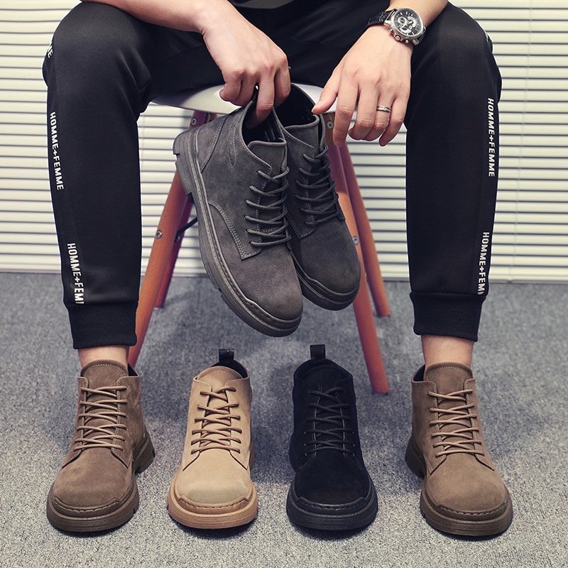 Suede Leather Platform Boots Men Fashion New Motorcycle Boots Autumn Lace Up Casual Shoes Men Men Ankle Boots Bota Masculina