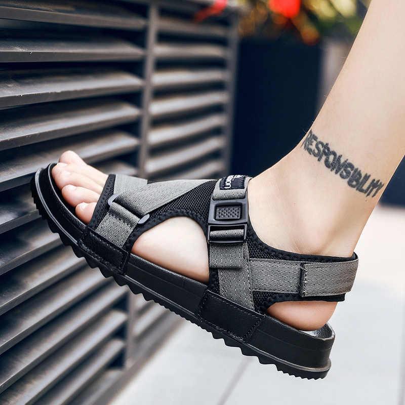Sandalen Mannen Schoenen 2020 Gladiator Mannen Sandalen Romeinse Mannen Schoenen Zomer Slippers Grijs Zwarte Platte Sandalen Grote Maat 45 46