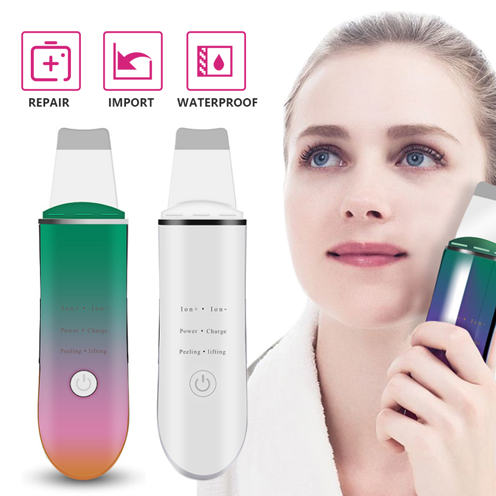 Ultrasonic Ion Face Skin Scrubber Facial Cleaner Cleansing Spatula Peeling Vibration Blackhead Removal Exfoliating Rechargeable
