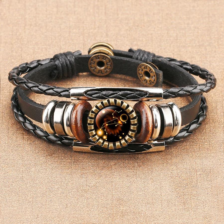 12 Constellation Zodiac Sign Black Braided Leather Bracelet Cancer Leo Virgo Libra Woven Glass Dome Jewelry Punk Men Bracelet