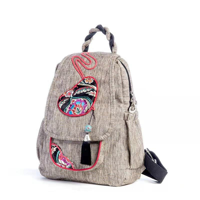 National Style Chinese Style Original Tassel Hand-woven Decorative Multi-compartment Large Backpack