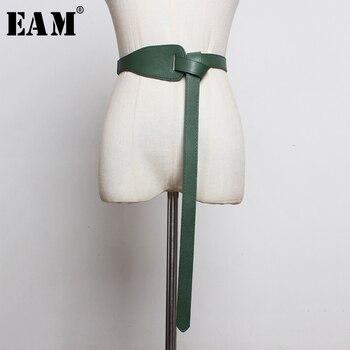 [EAM]  Pu Leather Asymmetrical Split Long Wide Belt Personality Women New Fashion Tide All-match Spring Autumn 2020 19A-a293