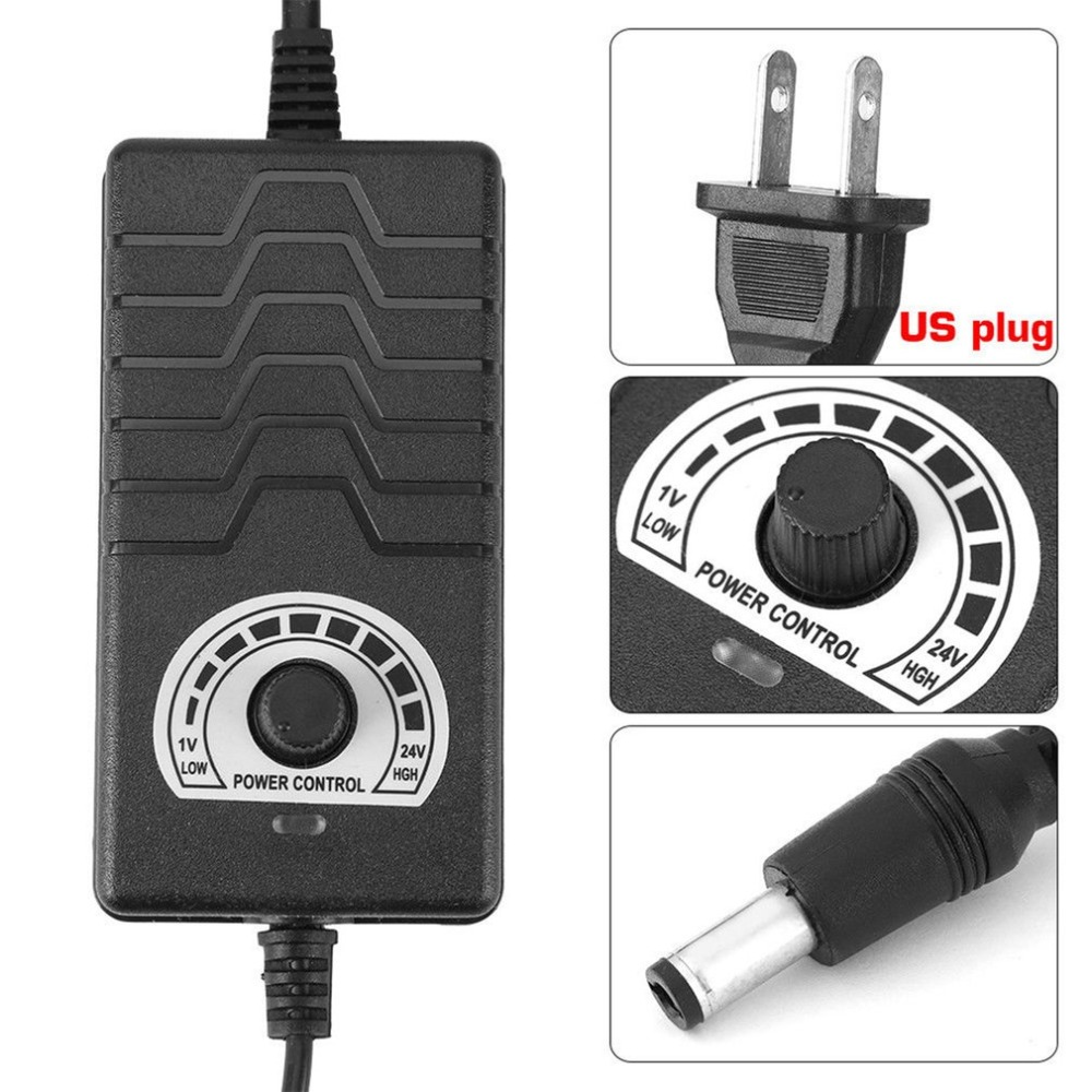 48W 2A 1-24V Adjustable Power Adapter Motor Speed Control Parts US Plug Multifunction AC/DC Adapter for Electric Equipment