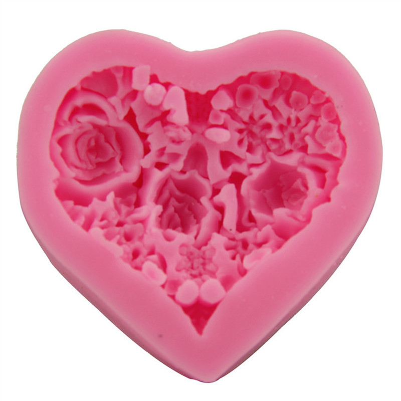Small Silicone Soap Mold Heart Flower Clay Rose Form Fondant Cake Chocolate Decorating Tool DIY For Making Mould Handmade Craft