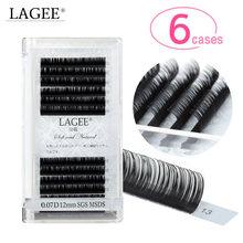 LAGEE 6 Cases Eyelash Extension Mink Lashes Classic Russian Volume Individual Fluffy Lash Wholesale Vendor Professional  J B C D
