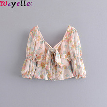 Summer Crop Tops Women Sweet Heart Sequins Embroidery Floral Print 2019 Female Square Backless Sexy Shirts and