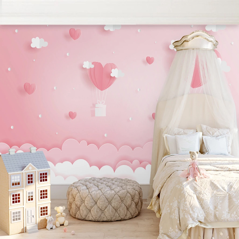 Custom 3D Photo Wallpaper Pink Clouds Princess Children Room Girls Bedroom Background Decoration Mural Wallpaper For Kids Room