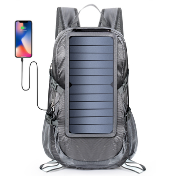 2019 Unisex Backpacks 6v 6.5-watt Foldable Solar Backpack Grey Men Hiking Shoulder Bag Traveling Bags with Wet Pocket Design 1