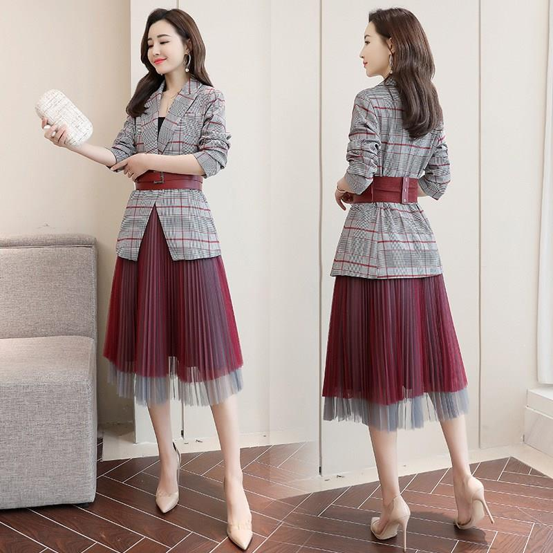 2019 Women Plaid Blazer Mesh Pleated Skirt Suit Office Wear Formal Blazer Jacket Women Formal 2 Piece Set