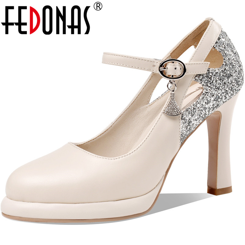 FEDONAS Sexy Women Glitters Pumps Slip On Supper High Heels Shoes New Summer Genuine Leather Pumps Classic Design Shoes Woman