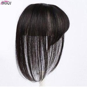 Image 3 - BUQI короткие человеческие волосы, настоящие человеческие волосы, 3D челка на клипсе, 100% натуральный цвет, человеческие волосы для женщин, прямые черные волосы