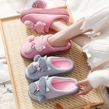 Women Cotton Slippers Cute Cat Ladies Platform Indoor Shoes For Winter Home Female Warm
