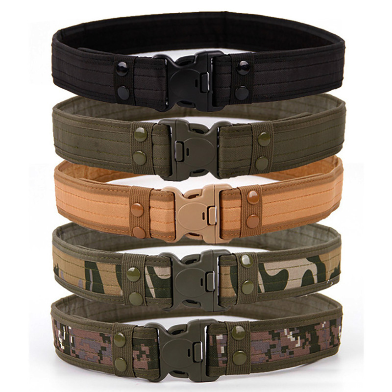 New Army Style Combat Belts Quick Release Tactical Belt Fashion Men Canvas Waistband Outdoor Hunting 7 Colors Optional 130cm