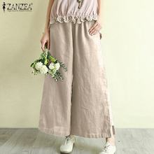 Fashion Women Summer Elastic Waist Solid Cotton Linen Trousers ZANZEA Wide Leg Pants Vintage Harem Pants Casual Flare Pantalon