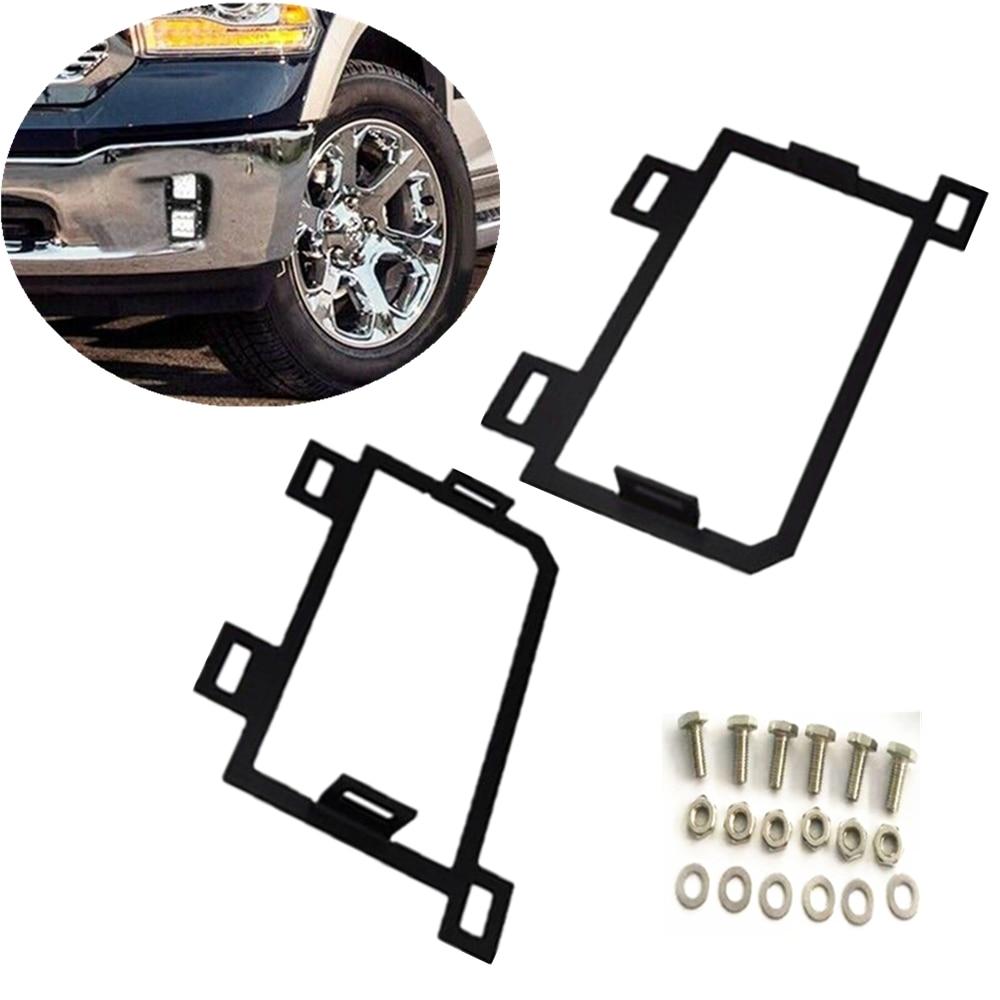 Car Front Hidden Bumper LED Fog Light Mounting Brackets For Dodge Ram 1500 2013-2018