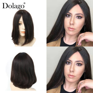 Dolago Human-Hair-Wigs Double-Drawn Best-Quality European Silk Virgin Base Soft