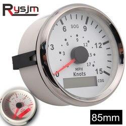 85mm Marine Boat Car Truck GPS Speedometer Gauge 9-32V Red Backlight Speed Gauge Waterproof 15Knots Instrument Panel SOG COG