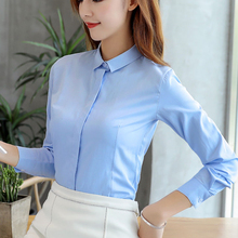 Women Shirts Office Lady Cotton OL Shirt Plus Size Elegant Long Sleeve White 5XL Womens Tops and Blouses