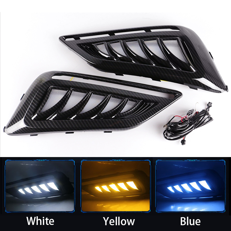 1 Pair LED DRL Daytime Running Light for MorrisGarages <font><b>MG6</b></font> MG 6 2017 2018 <font><b>2019</b></font> 2020 with Yellow Turn Signal Light Blue Light image