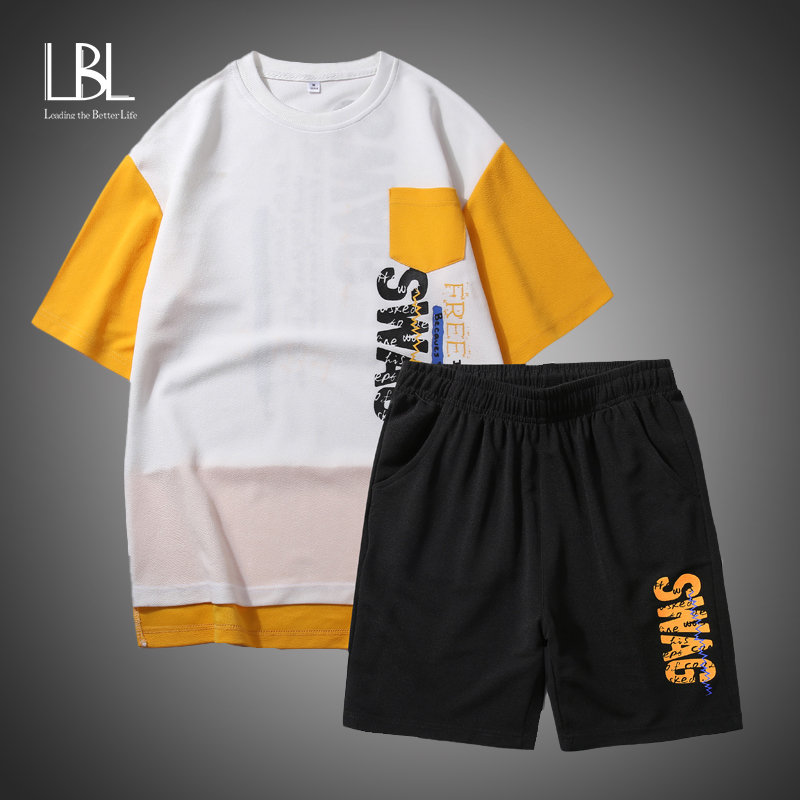 Funny Anime Print Oversized Men T Shirt Sets Hip-Hop Cotton Tshirt Summer Japanese Male Causal Tshirts 5XL Fashion Loose Tees