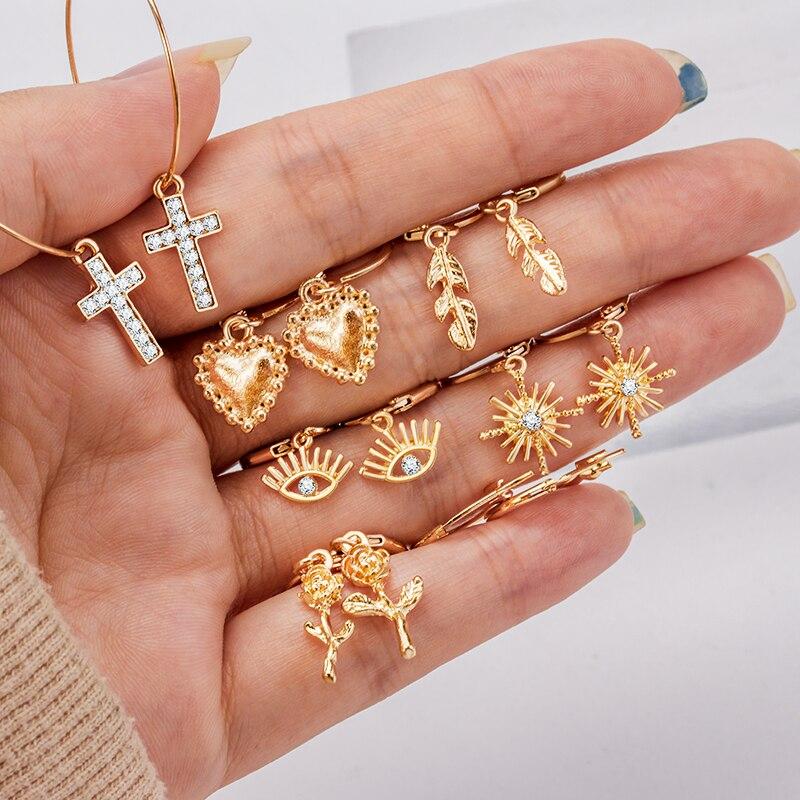 X&P 2020 New Boho Multi-Element Crystal Set Earring For Women Fashion Pendant Piercing Geometric Drop Earrings Jewelry