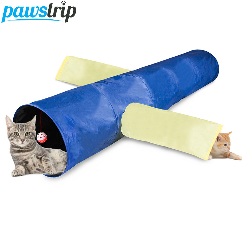 3 Holes Cat Tunnel Foldable Pet Cat Toy For Cats Rabbit Hamster Play Tunnel Tube Kitten Cat Training Toys 117*30cm image