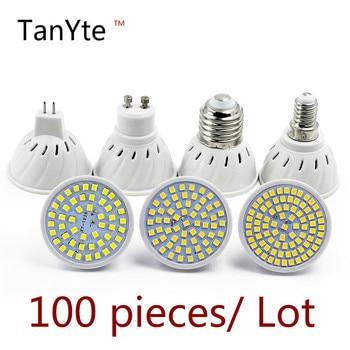 100Pieces/Lot Lampada LED Bulb MR16 GU10 E27 E14 Bombillas LED Lamp 220V 240V 2835 SMD 48 60 80 LED Spotlight  Indoor Lightint