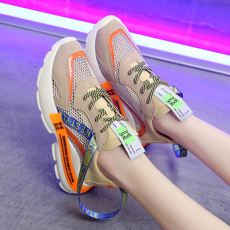 2020 New Spring And Summer Zapatos Mujer Wild Thick Bottom Daddy Shoes Sneakers Sponge Cake Hit Color Mesh Casual Shoes Women