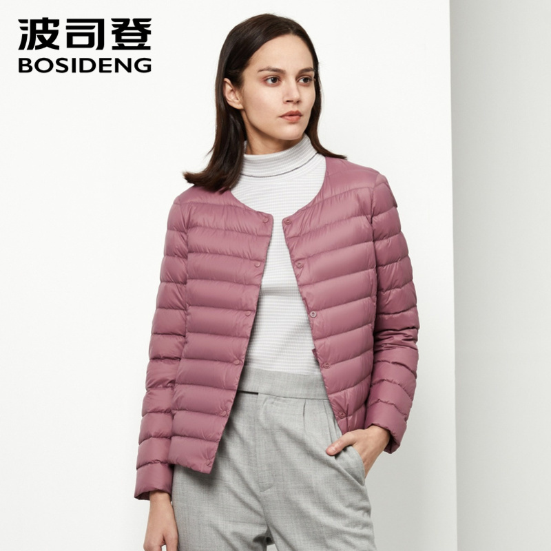 BOSIDENG OUTLET Women's Middle-aged Down Jacket Short Loose Warm Ultra Light Oversize Outerwear With Button B90130006B
