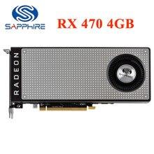 Placa de vídeo 256bit gddr5 da safira rx 470 4gb placas gráficas para amd rx 400 séries cartões rx470 4g displayport hdmi rx474 usado