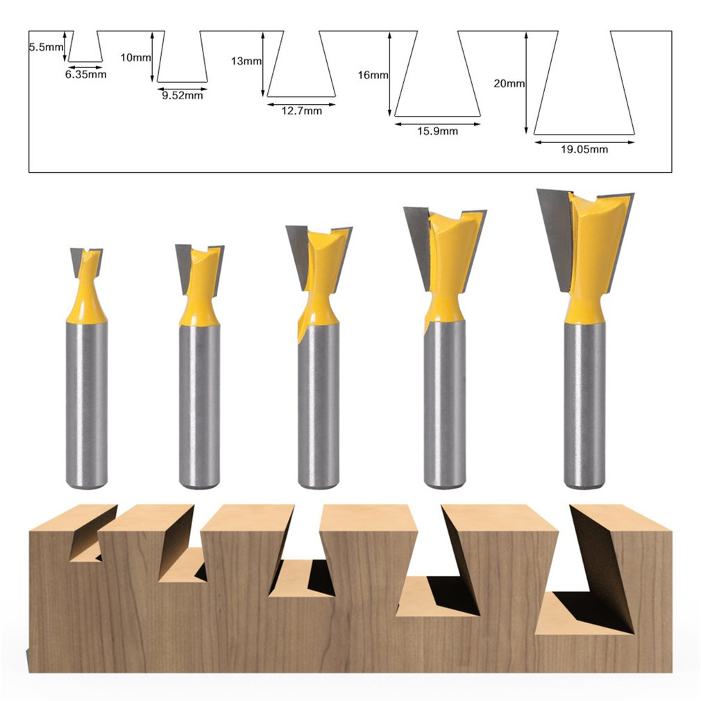 <font><b>8</b></font> <font><b>Mm</b></font> Shank Dovetail Joint Router Bits Cutting Knife Woodworking Engraving Bit <font><b>Cutter</b></font> For Wood Accessories image
