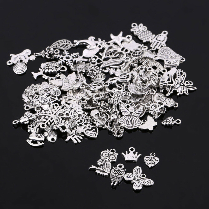 100pcs/lot Random Mixed Tibtan Silver Beads Charms Pendants for DIY Jewelry Making Accessories Christmas Gift Shipping Randomly(China)