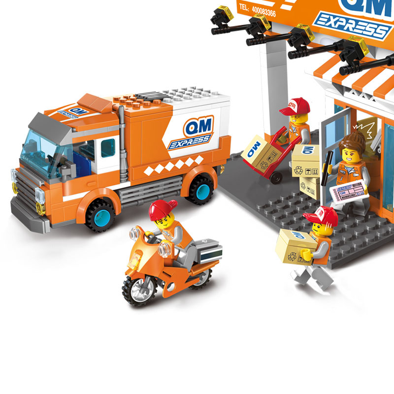 Models building toys 1119 337Pcs Express Delivery Company Truck Courier Station Assemble Building Blocks bricks legoinglys toys image
