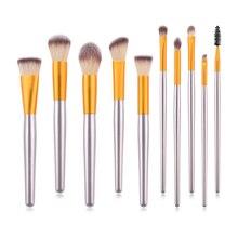 10 pcs Eye Makeup Soft Brush Set Eyelash Eyebrow Lipstick Foundation Powder Cosmetic Tools Kits