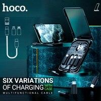 Hoco טעינת כבל usb עבור ברקים מיקרו סוג c חכם מתאם עבור iphone xiaomi huawei מתאם מיני אחסון תיבת תיק נשיאה|כבלים לטלפון נייד|   -