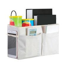 Bed Hanging Storage Bag Large Capacity Canvas Bedside Storage Basket for  books, snacks Organizer Caddy Bag цена и фото
