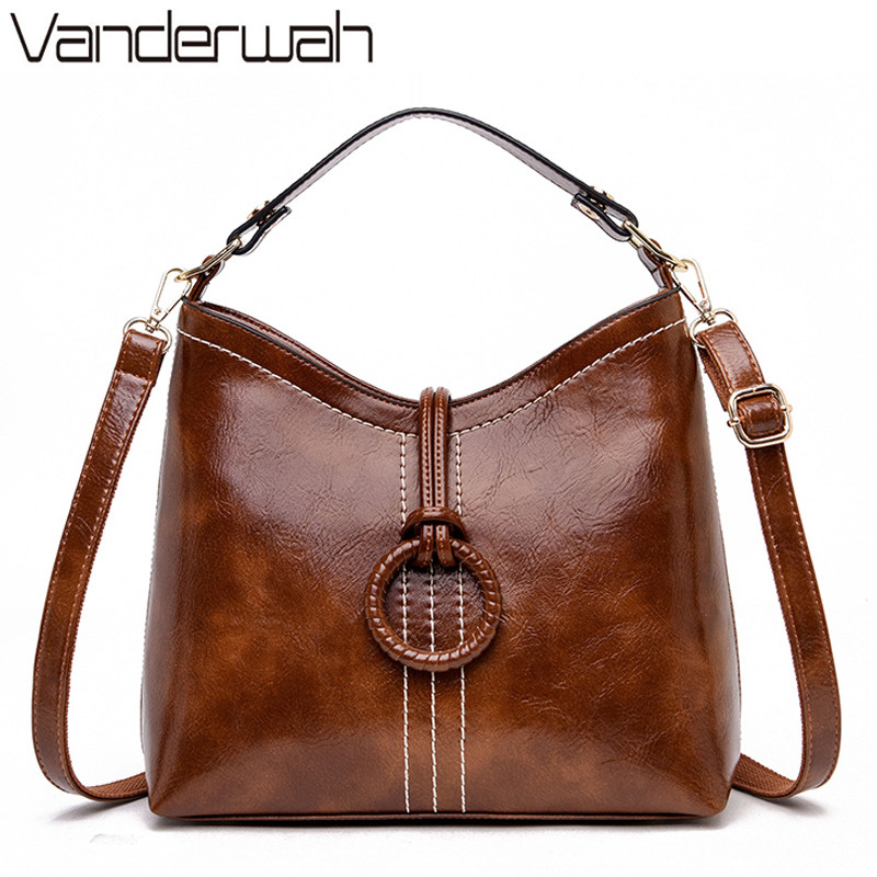 Fashion Bucket Shoulder Bags for Women 2019 retro Leather Handbags Vintage Designer Lady Tote Bag For Women Messenger Bag Bolsas